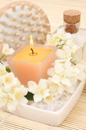 beauty treatment - jasmin flowers and cosmetics Stock Photo - 3564408