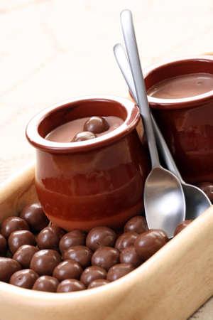 two glasses of chocolate cream - delicious dessert Stock Photo - 3564405