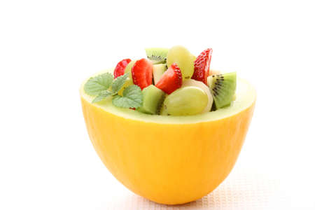 fruity salad in cantaloupe isolated on white Stock Photo - 3564516
