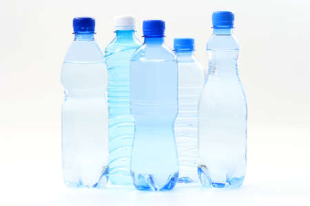 bottle with water: five bottles of mineral water - food and drink