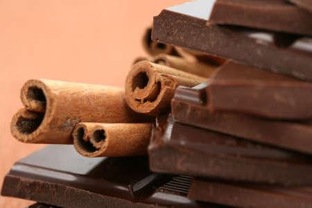 closeups: close-ups of chocolate and cinnamon - food and drink
