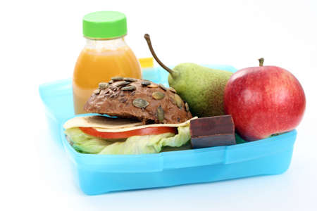 box with lunch - delicious sandwich and fruit close-ups photo