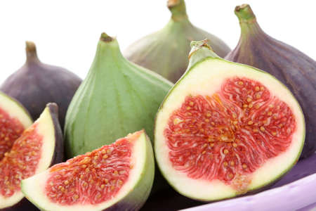 closeups: close-ups of fresh figs isolated on white - food and drink Stock Photo