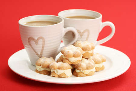 two cups of coffee and delicious cookies Stock Photo - 4131806