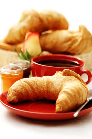 croissants: butter croissant and coffee for breakfast - food and drink Stock Photo