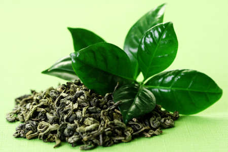 pile of green tea - herbal medicine Stock Photo - 4452394