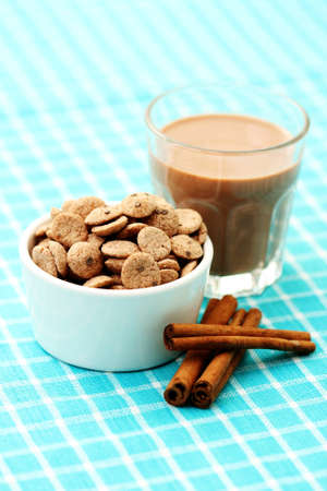 glass of chocolate milk and cerals - food and drink photo