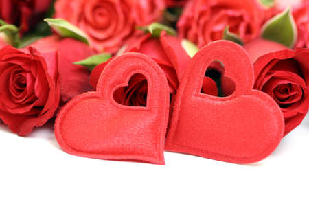 beautiful red roses and hearts isolated on white photo