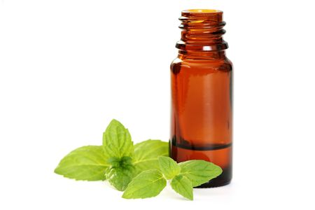 bottle of oil and fresh mint isolated on white Stock Photo