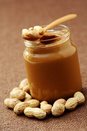 peanut: jar of peanut butter with - food and drink