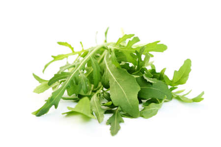 fresh rucola isolated on white - food and drink