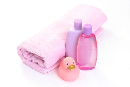 baby bath accessories in pink - body care photo