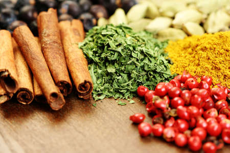close-ups of different aromatic spices - food and drink photo