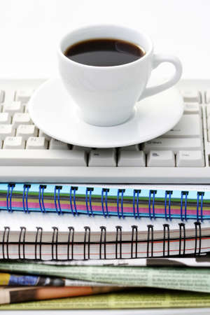 cup of coffee at work - lots to do Stock Photo - 4996707