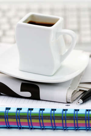 cup of coffee at work - lots to do Stock Photo - 5140144