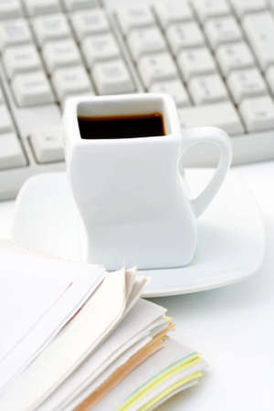 cup of coffee at work - lots to do Stock Photo - 5308515