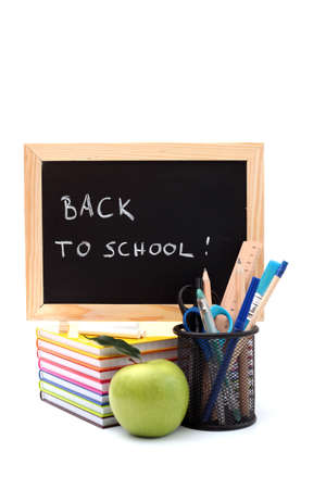 chalks: blackboard and chalk with green apple - back to school