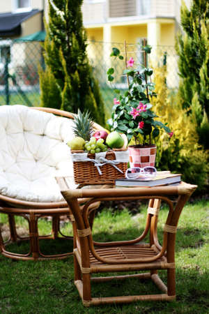 perfect place to relax - picnic basket and book Stock Photo - 5354511
