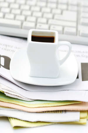 cup of coffee at work - lots to do Stock Photo - 5354462
