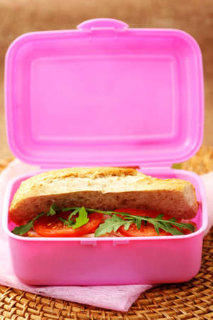 lunch box with delicious bun - food and drink photo
