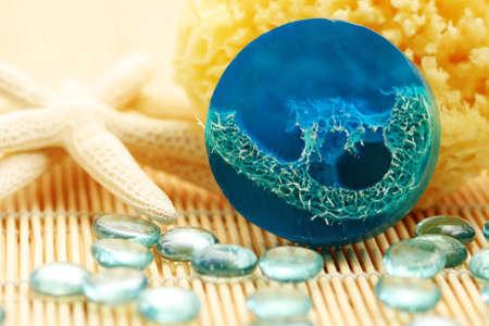 blue glycerin soap with shells and sponge - beauty treatment Stock Photo - 5512968