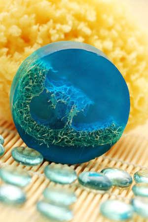 blue glycerin soap with bath sponge - beauty treatment Stock Photo - 5512974