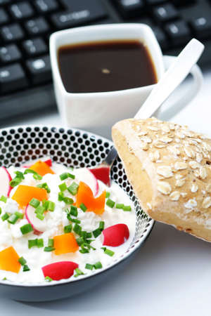 bowl of cottage cheese with vegetables - lunch time photo