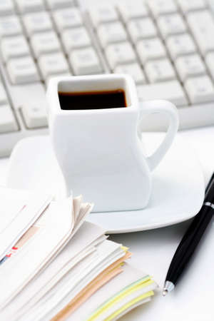 cup of coffee at work - lots to do Stock Photo - 5513019