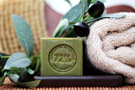 bodycare: bar of olive oil soap and some spa products