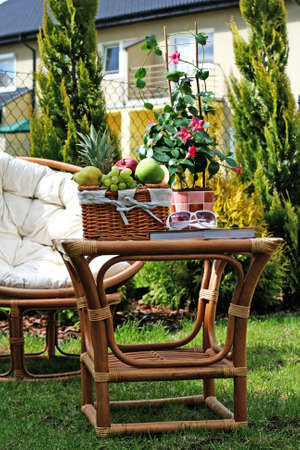 perfect place to relax - picnic basket and book Stock Photo - 5513036