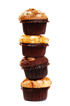 muffins: delicious muffins isolated on white - sweet food Stock Photo