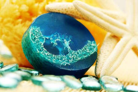 blue glycerin soap with shells and sponge - beauty treatment Stock Photo - 5554267