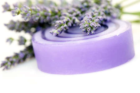 lavender glycerin soap with fresh flowers - beauty treatment photo
