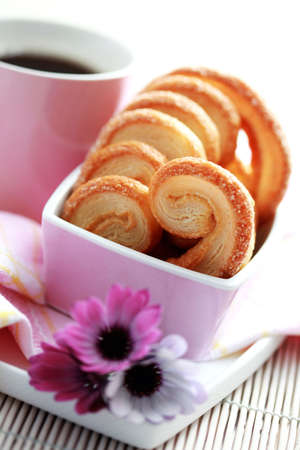 coffee hour: cup of black coffee with delicious cookies - coffee time
