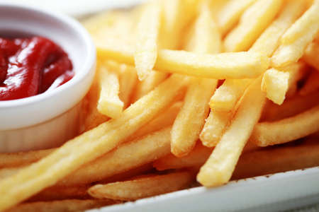 close-ups of french fries and ketchup - food and drink