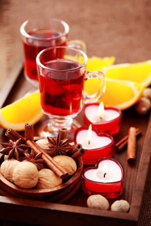 two glasses of mulled wine - food and drink photo