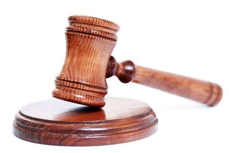 judges courtroom gavel on white background photo