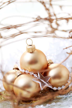 close-ups of golden Christmas balls - Christmas time photo
