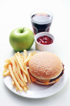 lunch time cheeseburger and french fries - food and drink Stock Photo - 5973647