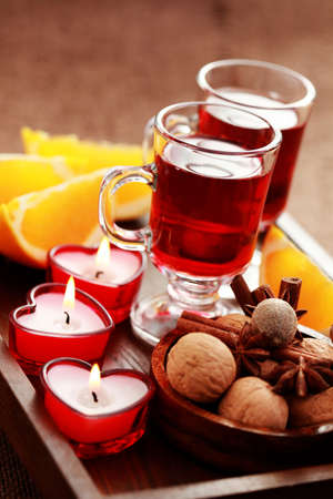 hot drink: two glasses of mulled wine - food and drink