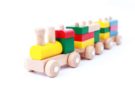 wooden train isolated on white - toys photo