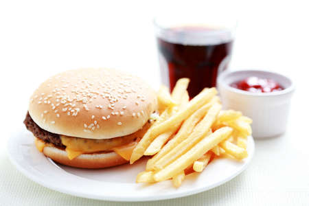 lunch time cheeseburger and french fries - food and drink Stock Photo - 6014041