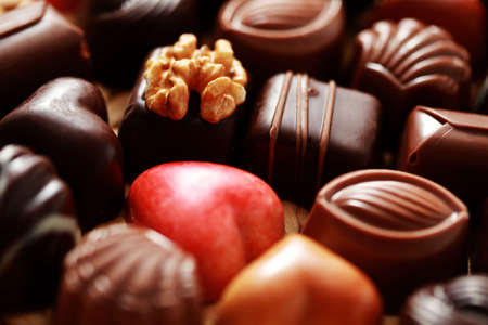 close-ups of delicious pralines - sweet food photo
