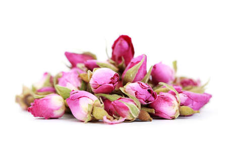 buds: dried roses isolated on white background - flowers and plants