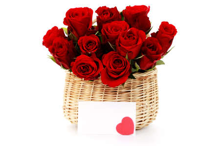 basket full of red roses on white background - flowers and plants Stock Photo - 6166642