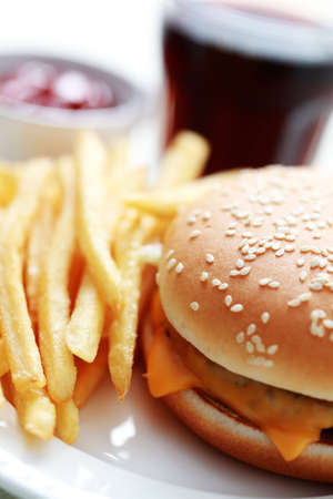 lunch time cheeseburger and french fries - food and drink Stock Photo - 6176151