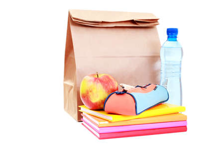 book bag: lunch for school on white - food and drink Stock Photo