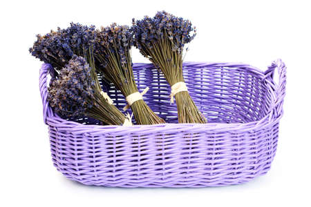 basket with lavender flowers on white - flowers and plants Stock Photo - 6312676