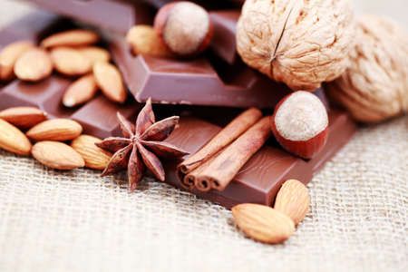 close-ups of chocolate with delicacies - sweet food photo
