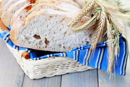 loaf of bread in basket - food and drink Stock Photo - 6344306